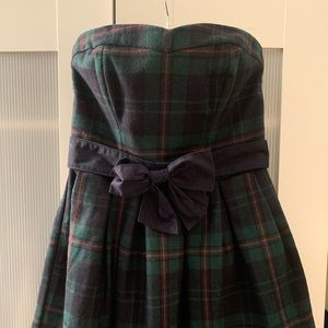 Abercrombie & fitch green plaid strapless dress 10